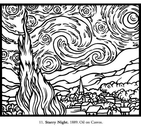Pattern For Starry Night Starry Night Van Gogh Van Gogh Coloring Van Gogh Art