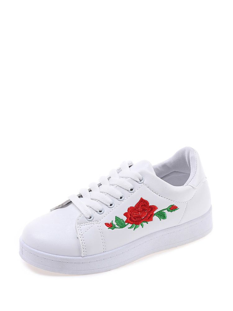68dcddb42be9 Flower Embroidery Lace Up SneakersFor Women-romwe