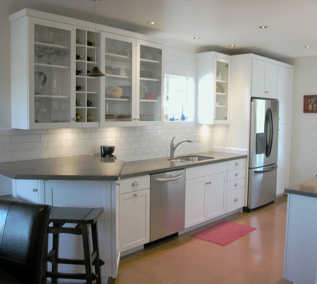Simple Kitchen Cabinet Doors: Galley Kitchen With Breakfast Bar. White Cabinets, Grey