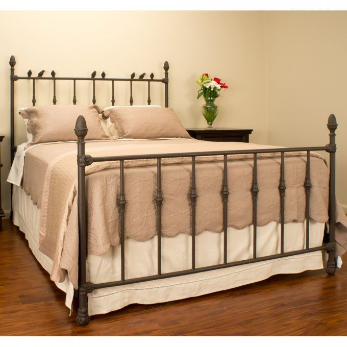 Bedding And Wrought Iron Headboard With Nightstands ...