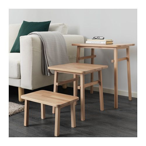 Ypperlig Nesting Tables Set Of 3 Ikea Solid Beech Is A Durable Natural Material Can Be Used Individually Or Pushed Together To Save E