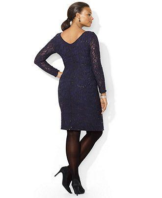 Lauren Ralph Lauren Plus Size Long-Sleeve Sequined Lace ...