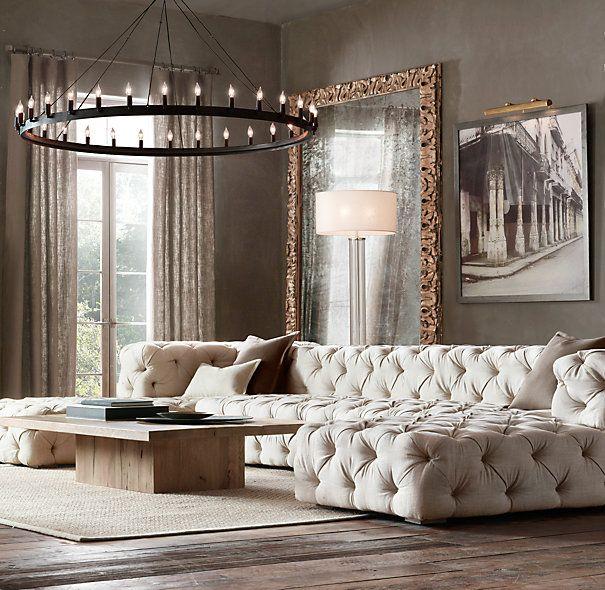 Preconfigured Soho Tufted U Chaise Sectional Home Interior