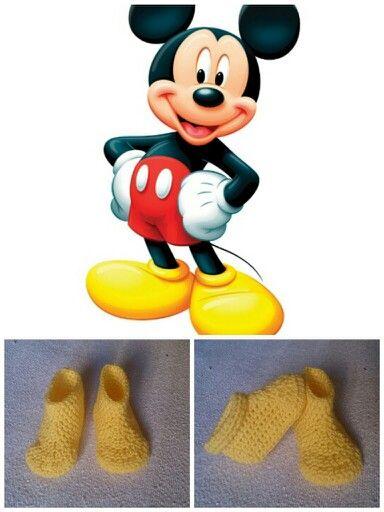 Botitas disfraz mickey mouse crochet   Punto y crochet   Pinterest