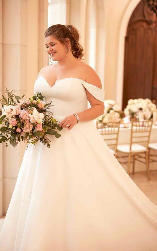 Courtesy Of Stella York Wedding Dresses 6718 Simple Satin Plus