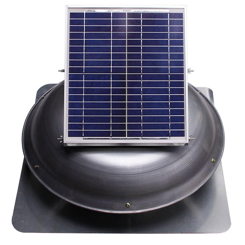 Ventamatic Cool Attic 1000 Cfm Grey Solar Powered Roof Attic Vent With Dome Mounted Panel Vxsoldomwgups The Ho Solar Roof Solar Powered Attic Fan Attic Vents