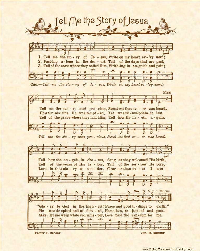Tell Me The Story Of Jesus Christian Heritage Hymn Sheet Music Vintage Style Natural Parchment Sepia Brown Ink 8 Hymn Sheet Music Jesus Stories Hymn Art