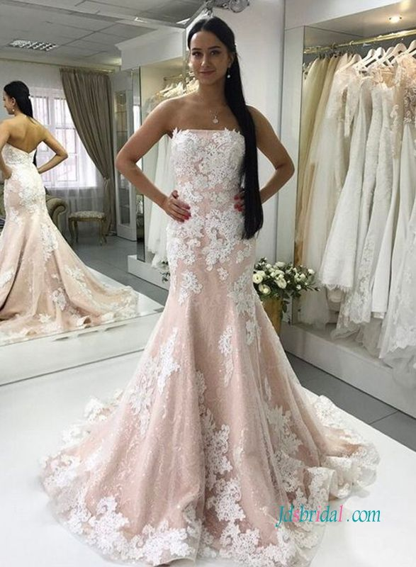 Blush pink with white lace mermaid wedding dress | Colored wedding ...