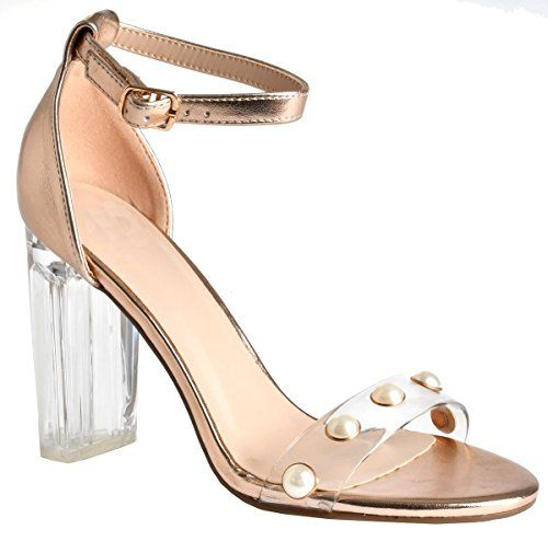 2b53a8e2b Women s Open Toe Chunky Covered Block High Heel Ankle Strap Sandals Dark  Penny Pearl With Clear Heel 10