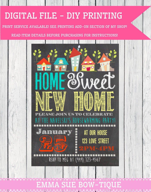 House Warming Party Invitation - Printable, Custom. DIY - VINTAGE ...