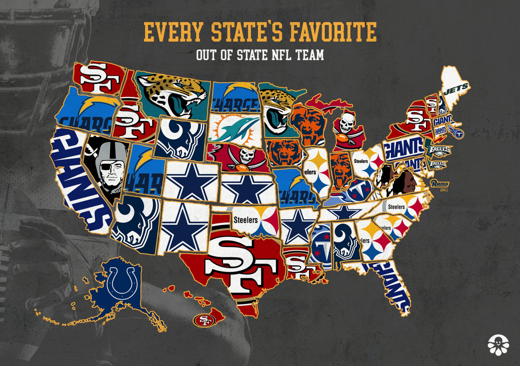 America S Favorite Out Of State Football Teams Mapped Football