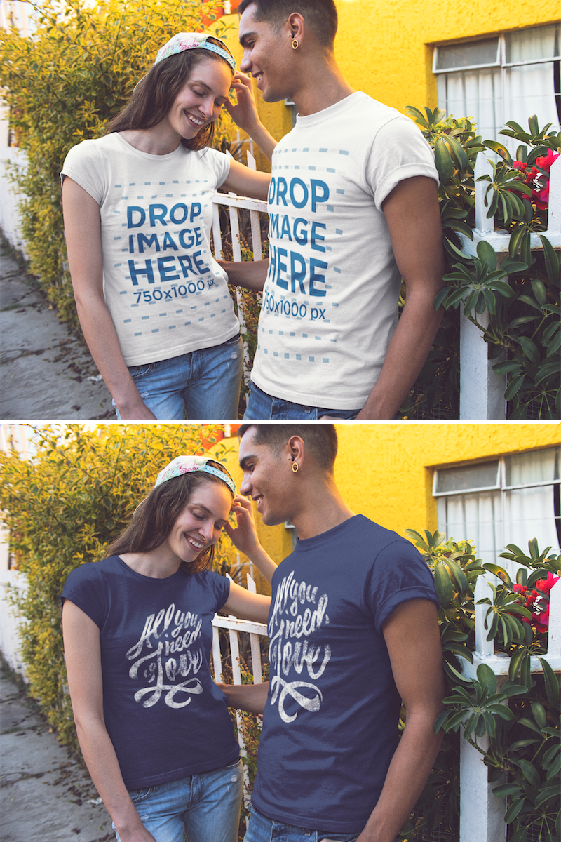Download Placeit Smiling Couple In The Street Wearing Round Neck T Shirts Mockup Clothing Mockup How To Wear Hoodie Mockup