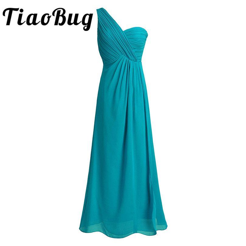 TiaoBug One Shoulder A Line Bridesmaid Dresses Long Chiffon Wedding ...
