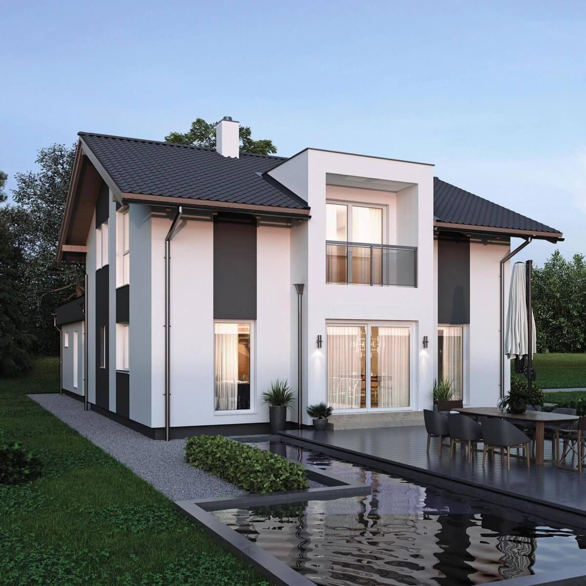 ELK Haus 153 mit Büro Anbau & Zwerchgiebel - ELK Fertighaus ...