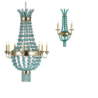 Serena Aqua Glass Chandelier and Wall Sconces