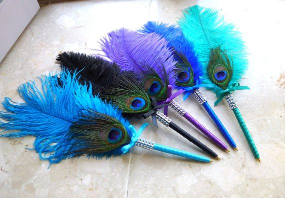 ONE Ostrich & Peacock Feather Signing Pen by BridesDayRevisited, £7.75