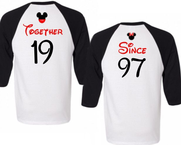 Couples that Disney Together Stay Together Disney Honeymoon / Anniversary 3/4 Sleeve Raglan Shirts, Disney Honeymoon, Disney Anniversary