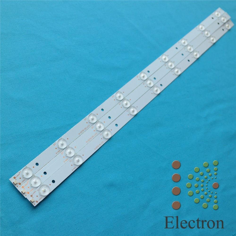 32'' 63cm*1.7cm 9leds Backlight Lamps LED Strips w/ Optical Lens Fliter for TV Panel Monitor New 3pcs/lot