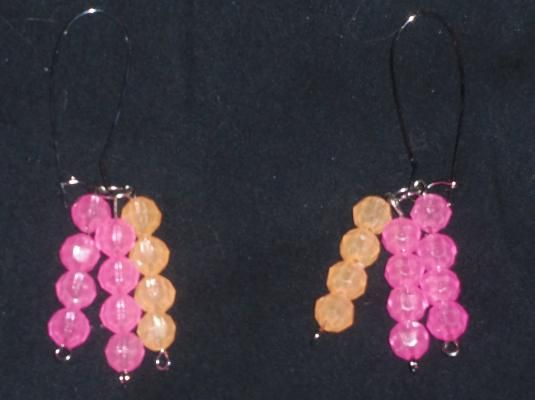 Pink and Orange Loop Earrings (( Glow in the Dark))