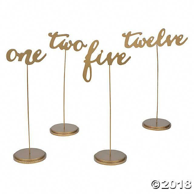1 - 12 Gold Calligraphy Table Numbers | Oriental Trading