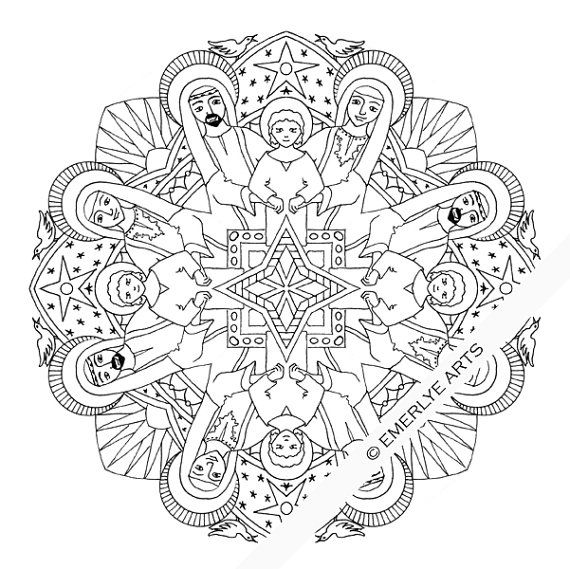 Holy Family Mandala adult coloring