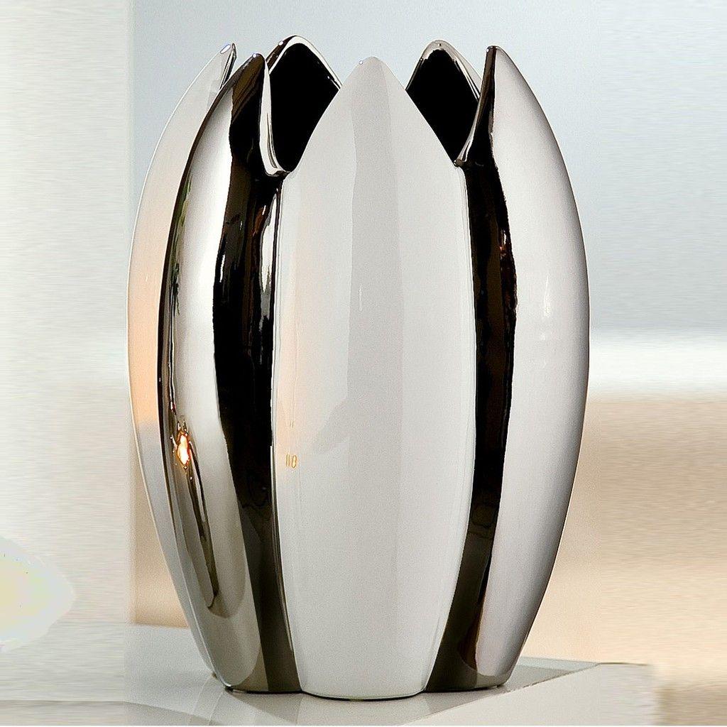 Keramik /Übertopf H 16 cm weiss Blumentopf shabby Ornament Topf