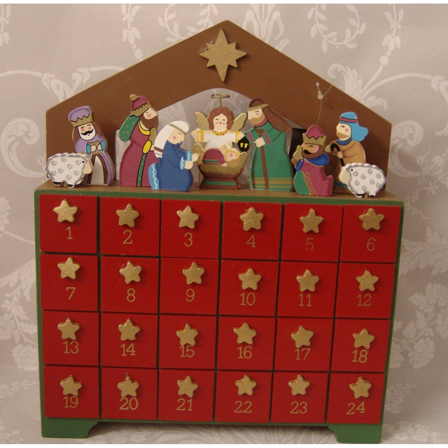 Christmas Wooden Advent nativity Scene Calender Drawers