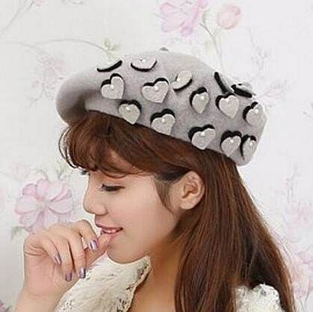 4084c4d08 Pearl heart beret hat for women wool french beret hats | Moda ...