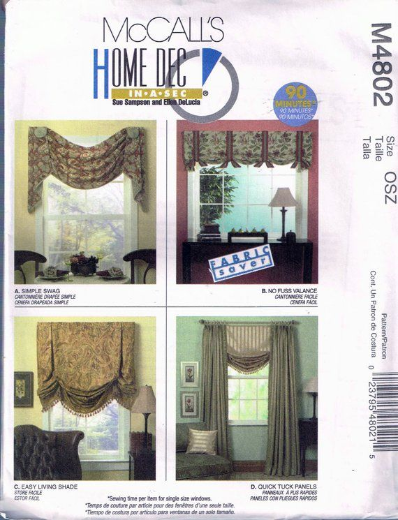 Easy Swag Curtain Or Valance Curtain Home Decor Sewing Pattern Mccalls M4802 Curtain Sewing Pattern Mccalls Sewing Patterns Simple Curtains