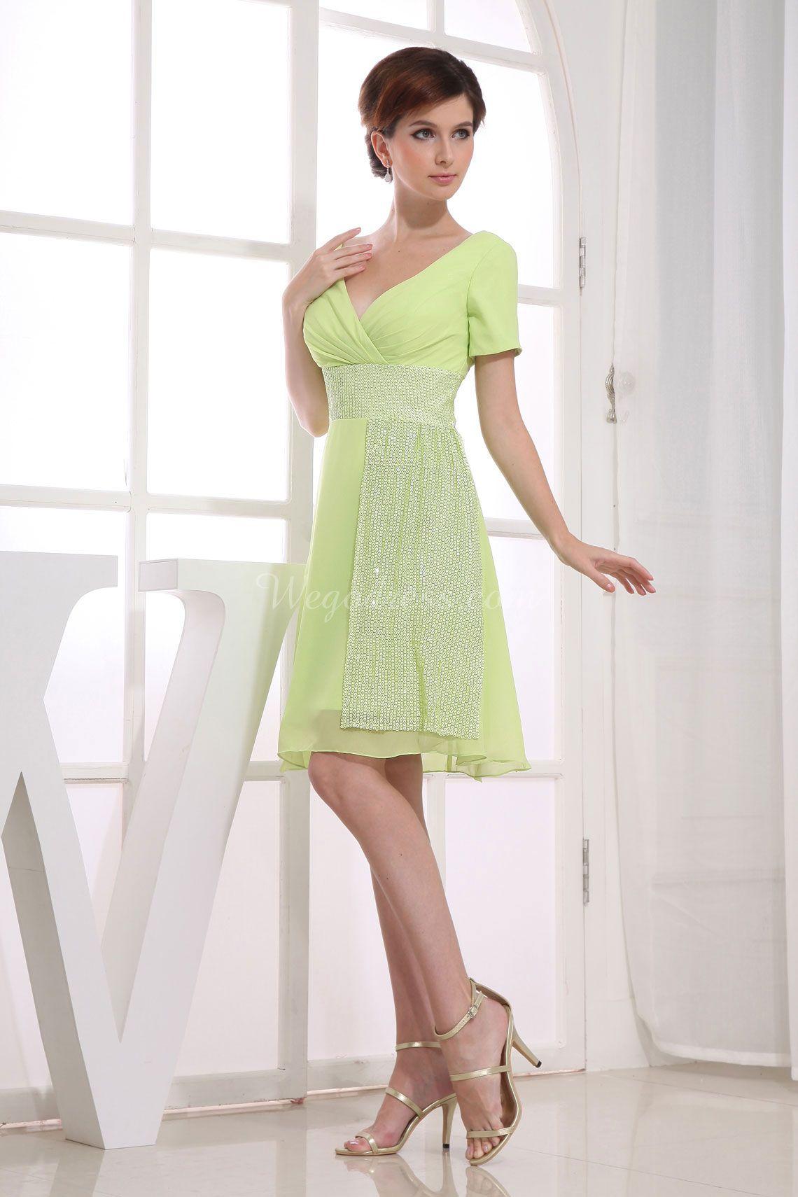 Chiffon Draping Green Short Sleeve A-line Sequins V-neck Bridesmaid ...
