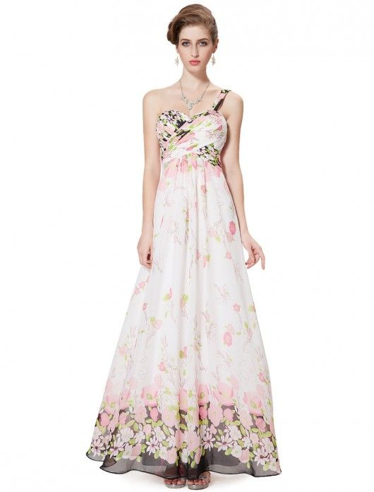 Ever Pretty One Shoulder Ruched Bust Long Printed Resort Evening Dress