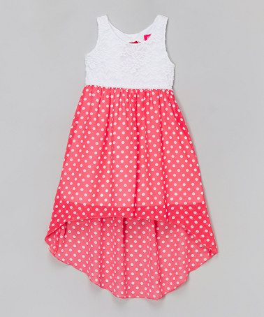Love this Coral Dot Dress - Toddler & Girls by Zunie & Pinky on #zulily! #zulilyfinds