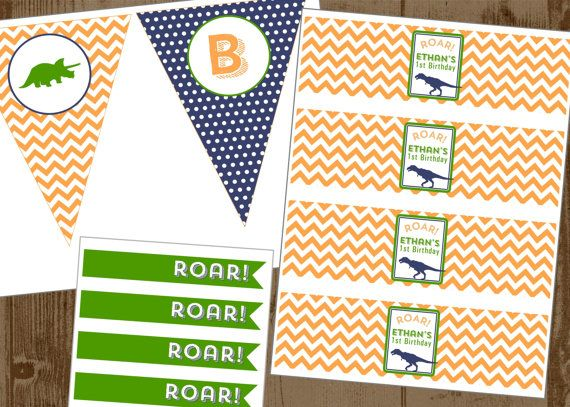 Dinosaur Party Printable Set Invite Bottle Wrap by HHpaperCO