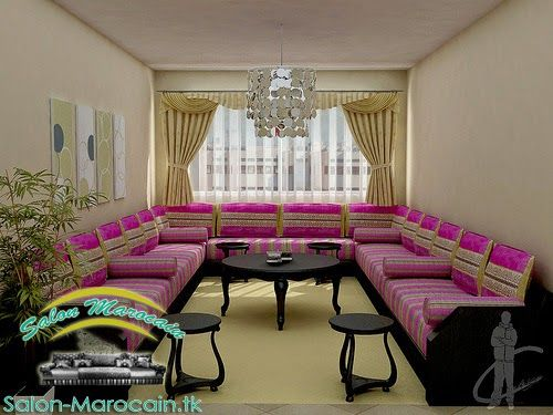 Salon marocain mauve noir de luxe | Salon marocain en 2019 | Salon ...