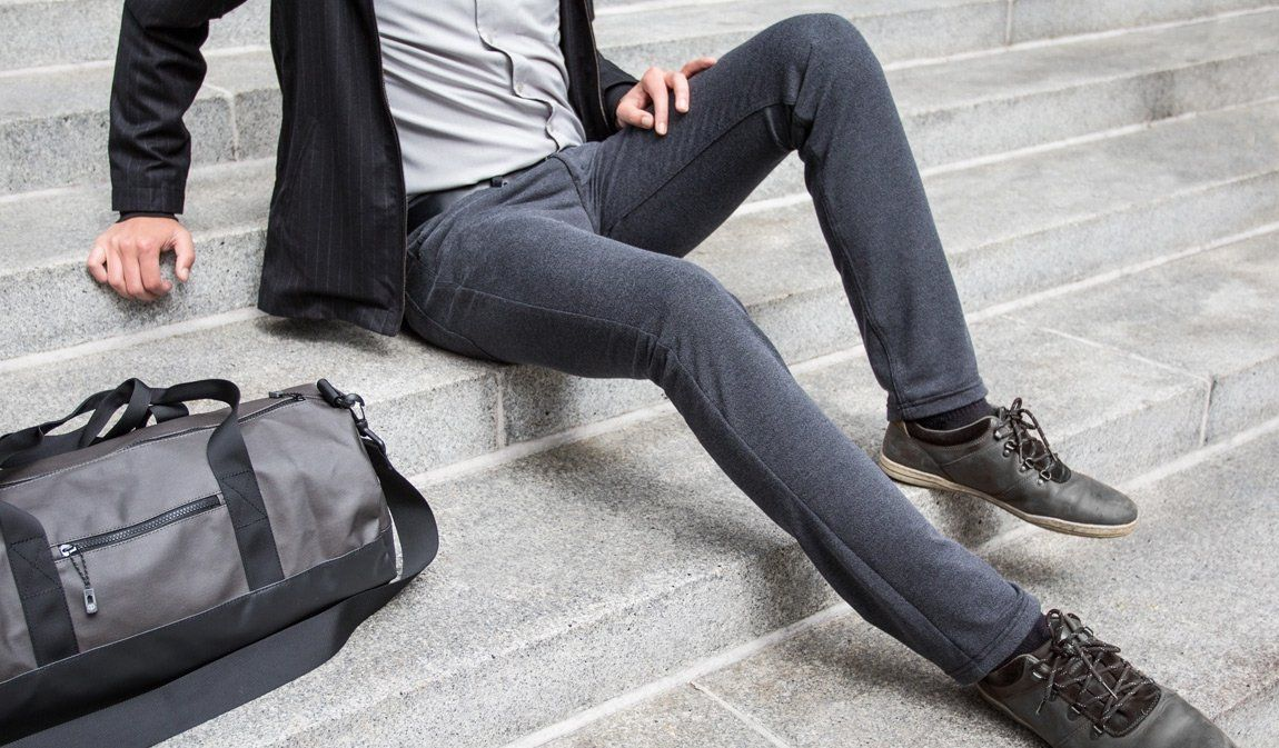 betabrand mens five pocket sweatpants dress pants model legs ...
