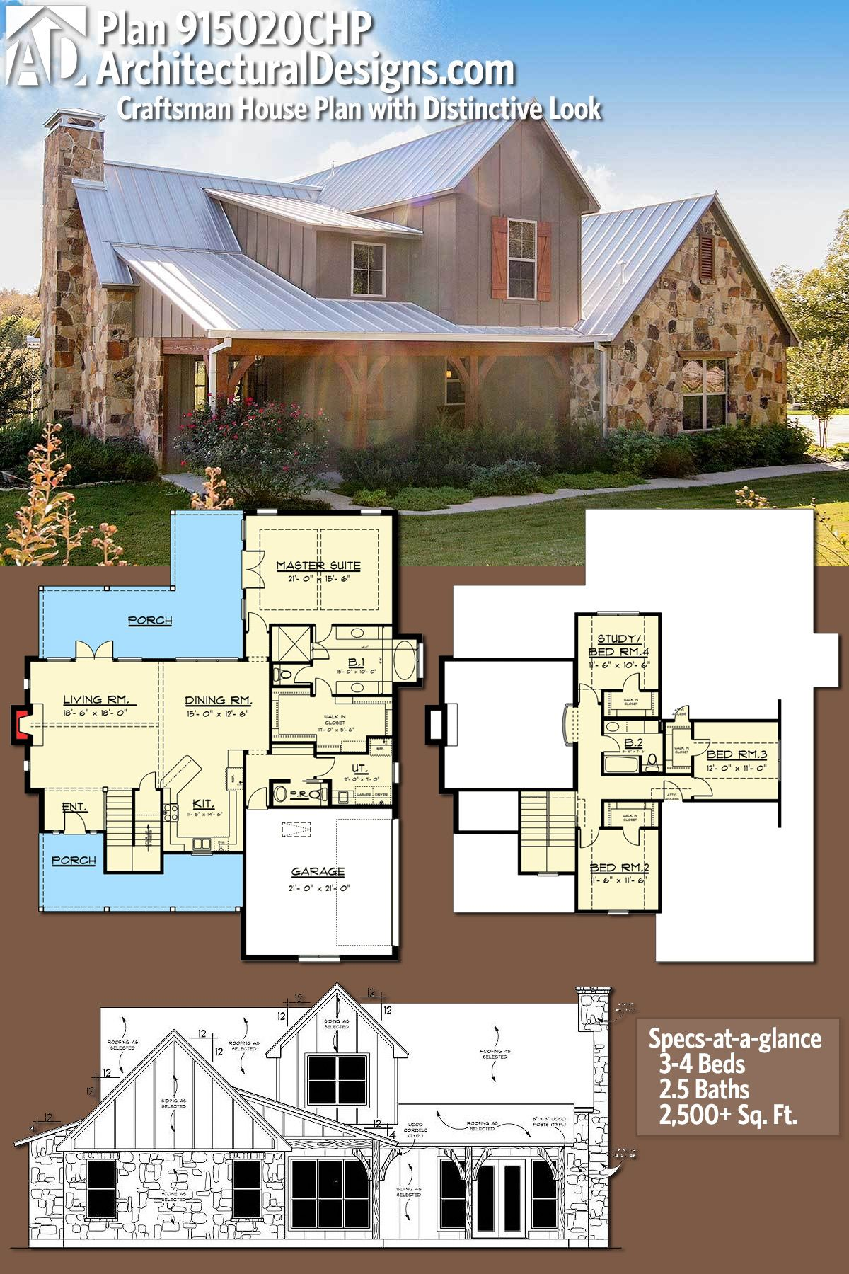 Plan 915020CHP Craftsman House Plan with Distinctive