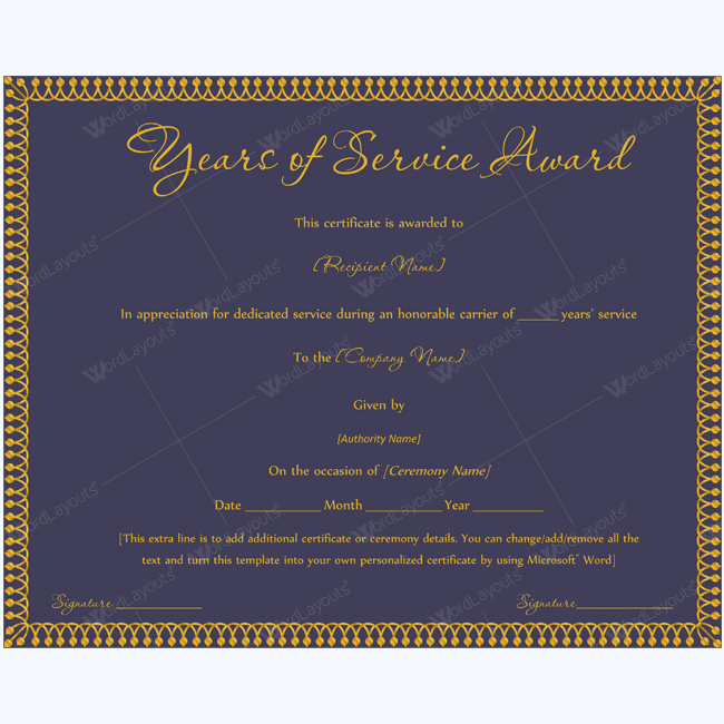 Years of service award 07 certificate and template years of service award certificate yelopaper Choice Image