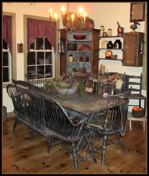 Farmhouse Dining Love The Table Chairs Wood Flooring Corner Cupboard Primitive RoomsPrimitive