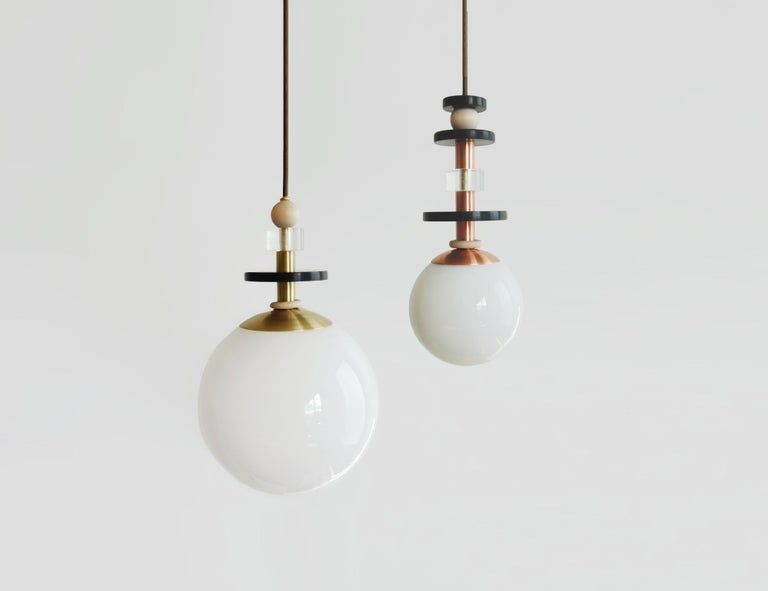 Maru Globe Pendant Light With Tall Stack Of Beads In Copper Or Brass With Images Globe Pendant Light Pendant Light Brass Pendant Light