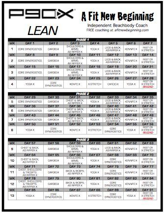 picture regarding Printable P90x Workout Schedule named P90x Lean Plan Routine This P90X Lean Exercise session Plan