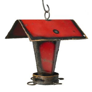 Recycled Metal Bird Feeder -- Love this!