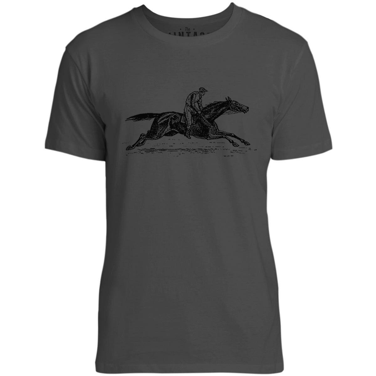 Mintage Vintage Race Horse Mens Fine Jersey T-Shirt (Vintage Black)
