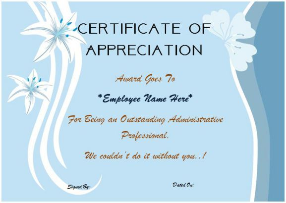 Certificate Of Appreciation For Employees  Thank You Certificates