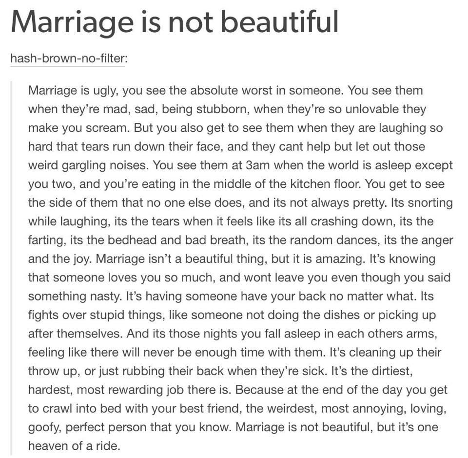This is what marriage means to me and I finally have someone that feels the same