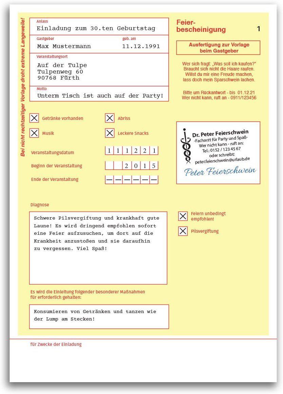 Einladungskarten Geburtstag (10 Stück) Krankschreibung Krankmeldung ...