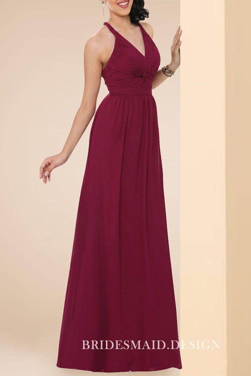 5f7147f904b Classic Dark Red Chiffon Twisted V-neck A-line Long Bridesmaid Dress ...