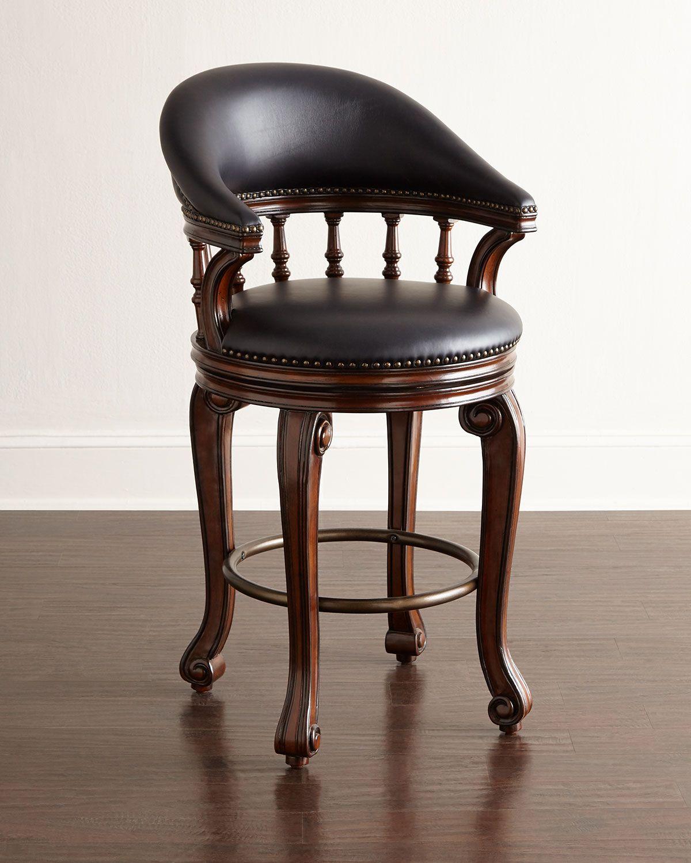 Admirable Alexander Swivel Leather Barstool The Man Cave Leather Short Links Chair Design For Home Short Linksinfo