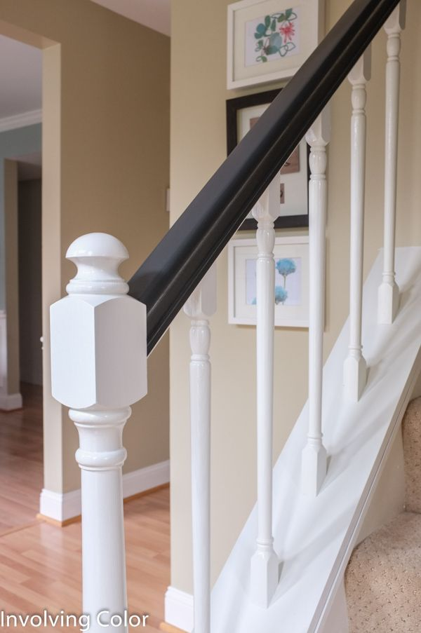 How To Paint Oak Stair Railing Black And White Painted Staircases Stair Railing Oak Stairs