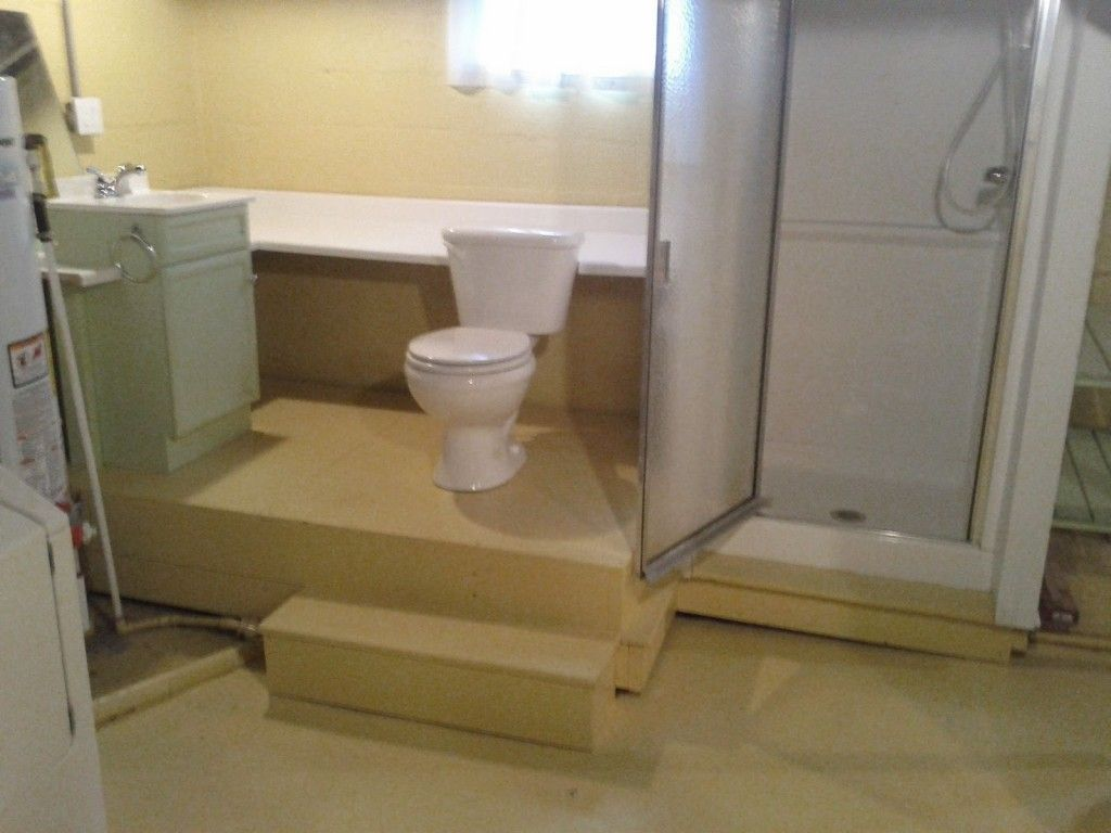 Bathroom Ideas For Basement With Small Fiberglass Shower Stalls And Standard Toil Basement Bathroom Design Small Basement Bathroom Basement Bathroom Remodeling