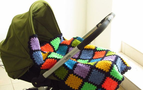 Colourful Baby Blanket Granny Squares Baby Blanket Crochet Baby ...